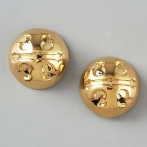 Tory Burch -  Applied Logo Stud Earrings Gold